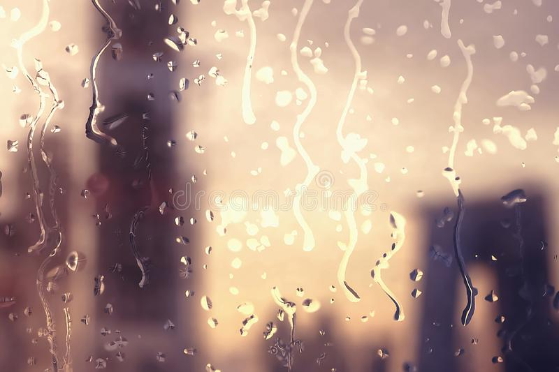 Rainy glass and blurred city landscape vector illustration
