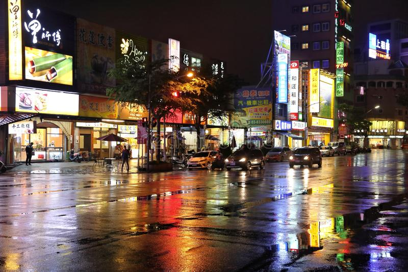Rainy Hualien, Taiwan. HUALIEN, TAIWAN - NOVEMBER 24, 2018: Rainy night reflection of Hualien, Taiwan. Hualien is one of the biggest cities on Taiwan\'s east stock images