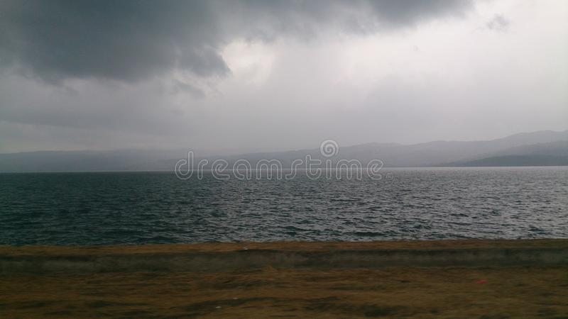 Rainy lake royalty free stock photo