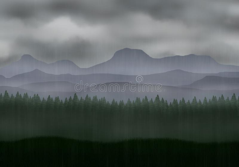 Rainy, misty pine forest with mountains. royalty free illustration