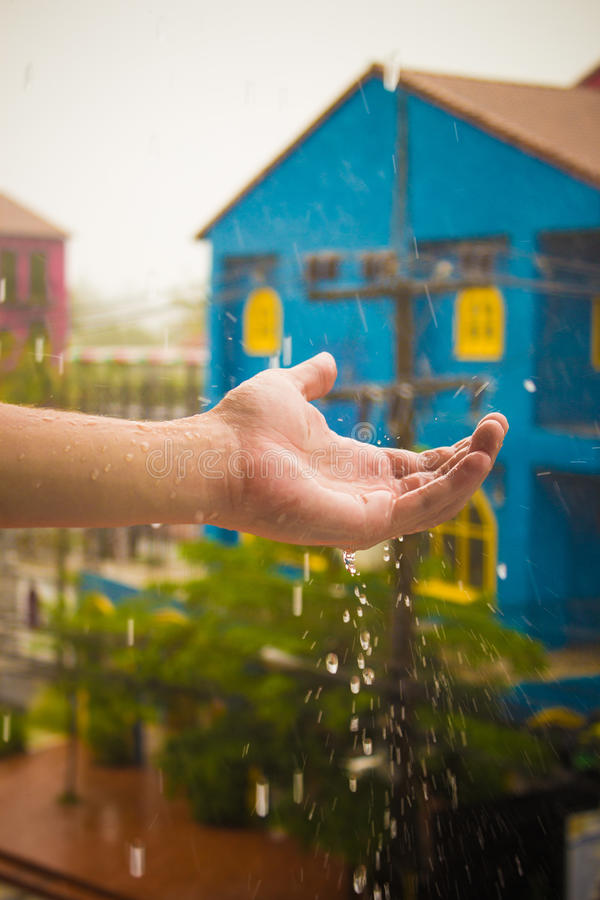 A rainy morning. Time as water stock photography