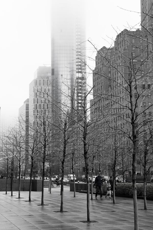 Rainy New York - Street Scene Monochrome stock photo