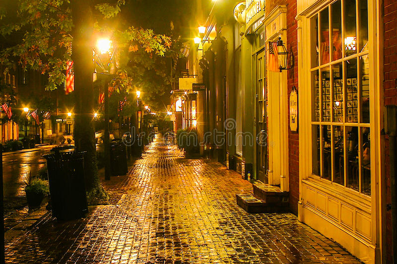 Download Rainy Night in Old Town editorial photography. Image of restaurants - 30459602