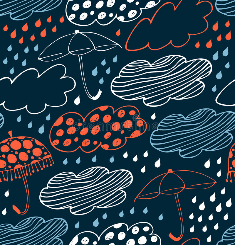 Rainy seamless decorative background. Cute pattern with clouds, umbrellas and drops of rain. royalty free illustration