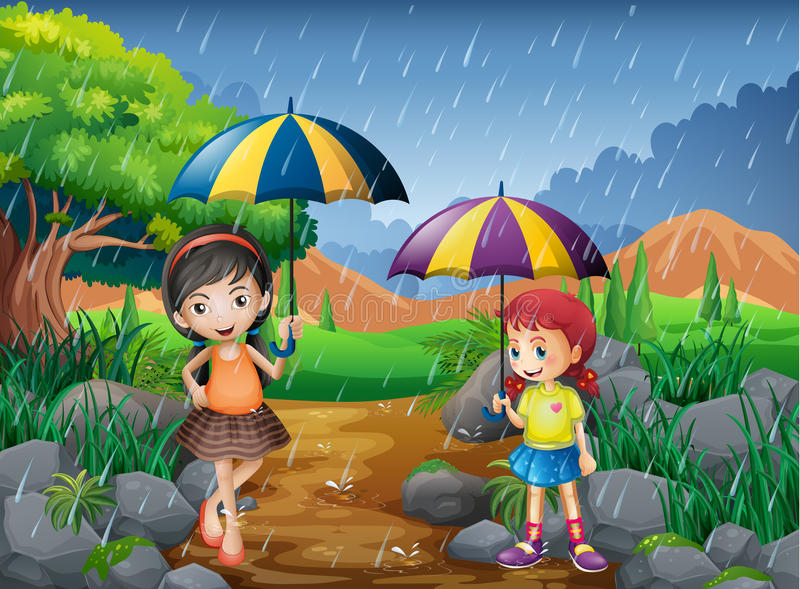 rainy season with two girls in the park stock vector