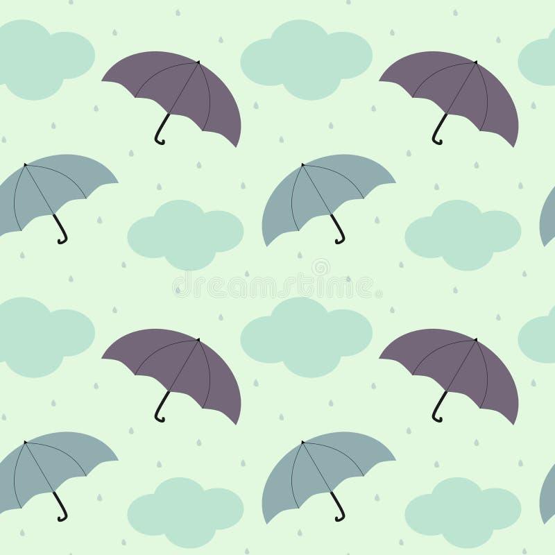 Rainy sky with colorful umbrella seasonal seamless pattern background illustration royalty free illustration