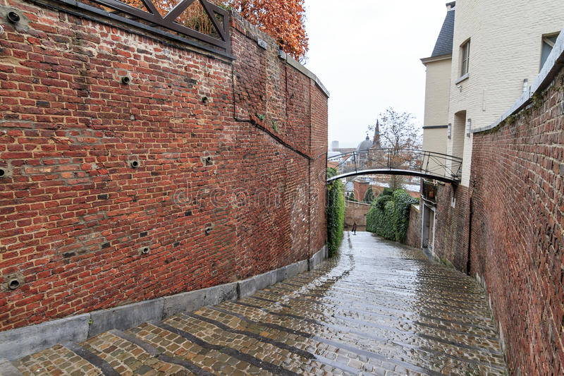 Rainy stairs in Liege stock image