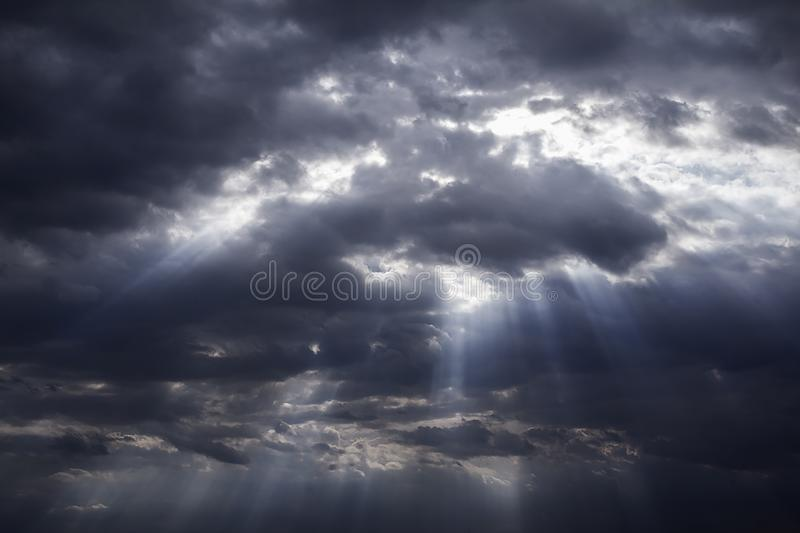 Rainy and stormy in dark clouds. Shadow make sky in black. The rain is coming soon. Pattern of the clouds can not predict this is Tornado, Hurricane or royalty free stock photos