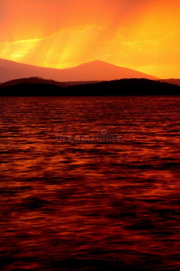 Rainy sunset colors stock photography