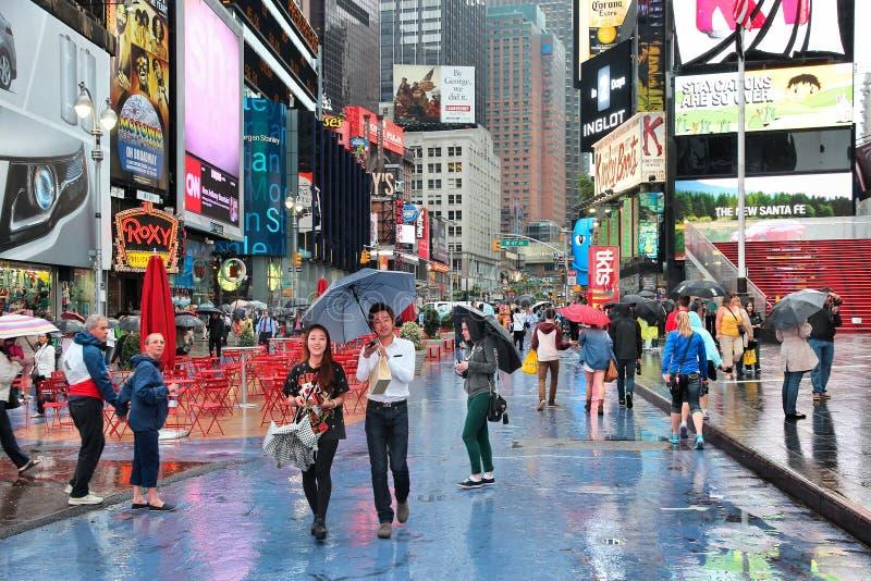 Rainy Times Square stock photo