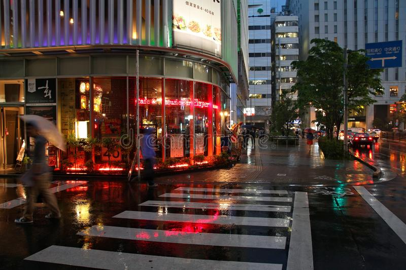 Rainy Tokyo. TOKYO, JAPAN - MAY 9, 2012: People shop in the rain in Shinjuku district, Tokyo. Shinjuku is one of special wards of Tokyo. 337,556 people live here royalty free stock photos