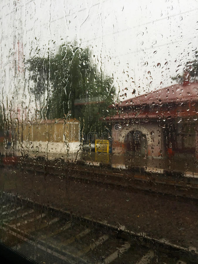Rainy Train stock image
