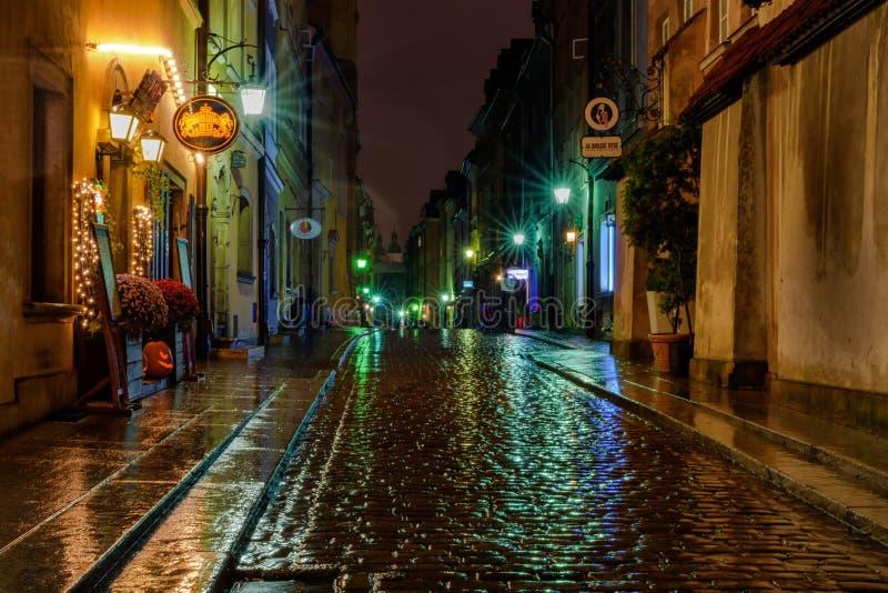A rainy Warsaw street royalty free stock image
