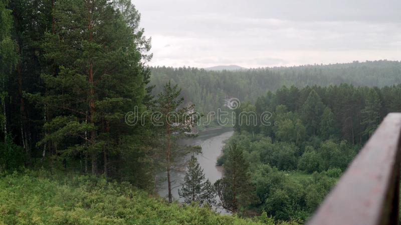 Rainy weather in forest area with mountain river. Stock footage. Beautiful landscape with torrential rain over royalty free stock image