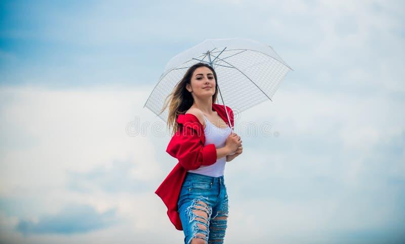 Rainy weather. Good mood. Good vibes. Girl feeling good sky background. Good weather. Girl welcoming fall. Feeling stock images