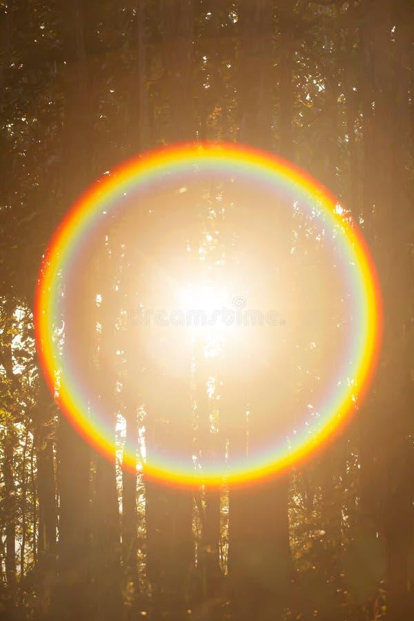 Raio arco-íris do círculo mágico a partir do sol fotos de stock royalty free