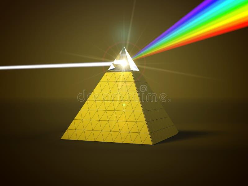 Raio claro branco que dispersa a outro raios claros da cor através do prisma da pirâmide ilustração 3D ilustração do vetor