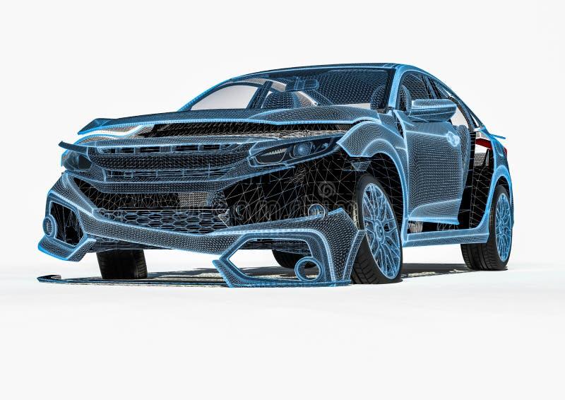 Raio X da destruição do carro ilustração do vetor