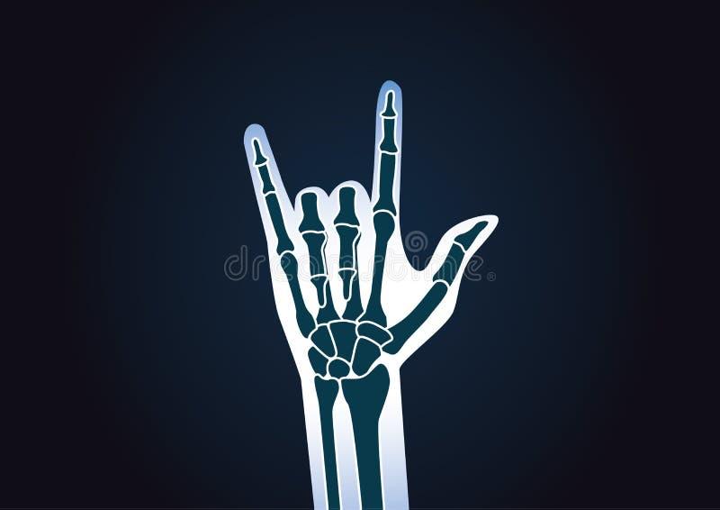 Raio X da mão ao fazer o sinal do amor ilustração do vetor