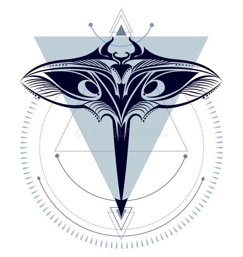 Raio de Manta geométrico ilustração stock