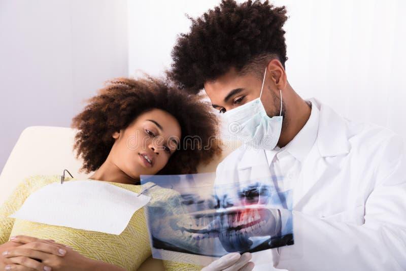 Raio X de Showing Teeth do dentista ao paciente fêmea imagens de stock royalty free