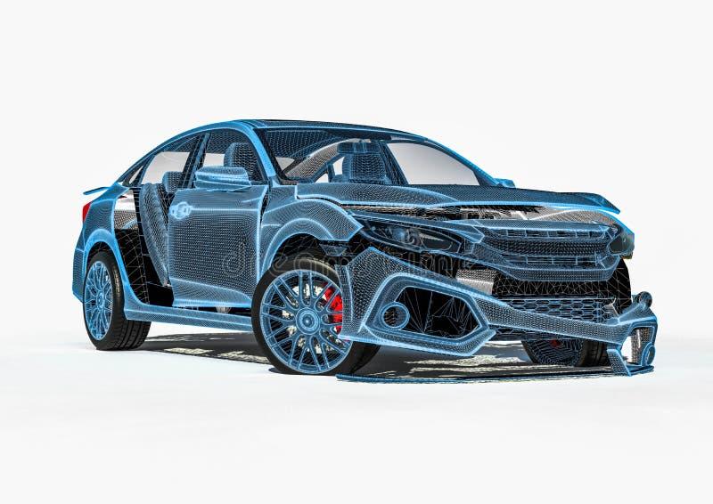 Raio X de uma destruição do carro ilustração royalty free