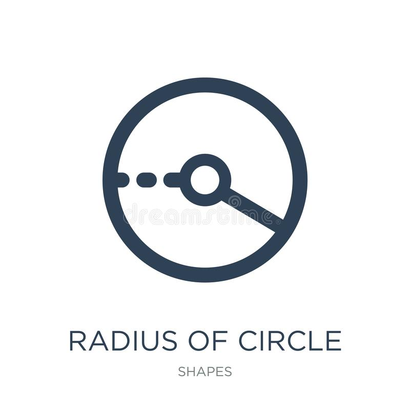 raio do ícone do círculo no estilo na moda do projeto raio do ícone do círculo isolado no fundo branco raio do ícone do vetor do  ilustração stock