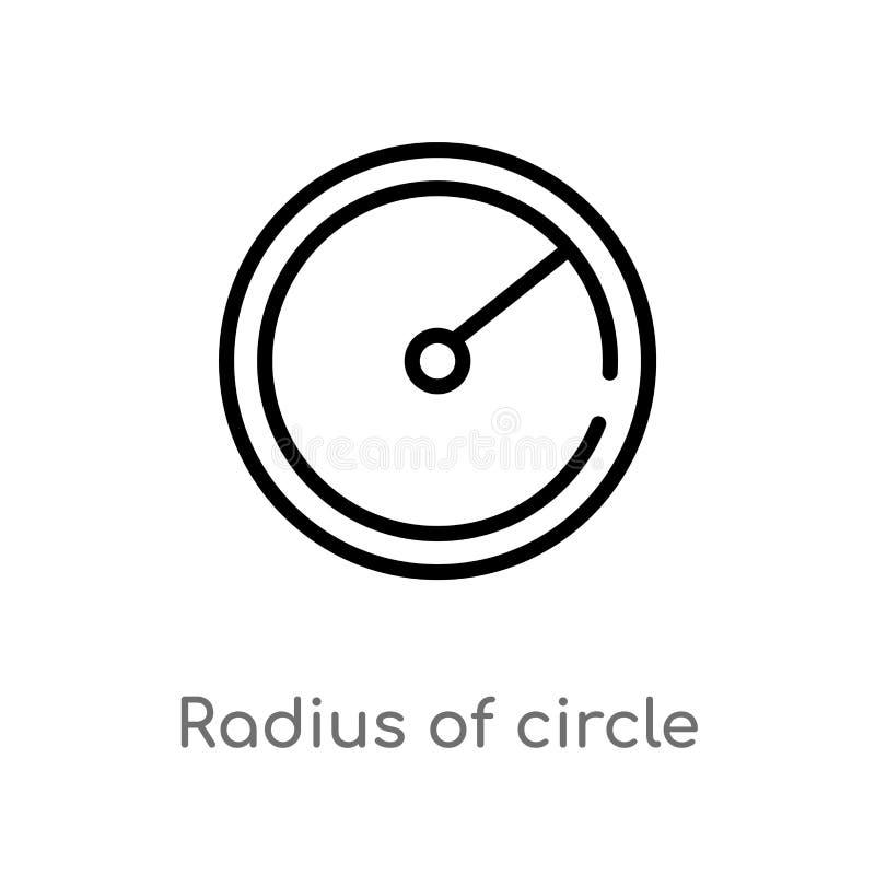 raio do esboço do ícone do vetor do círculo linha simples preta isolada ilustra??o do elemento do conceito das formas Curso edit? ilustração stock