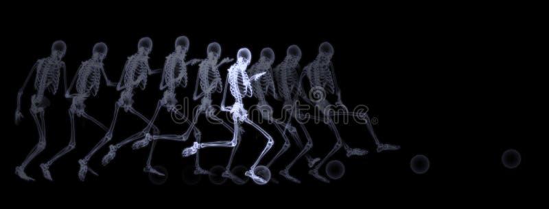 Raio X do futebol de jogo de esqueleto humano ilustração do vetor