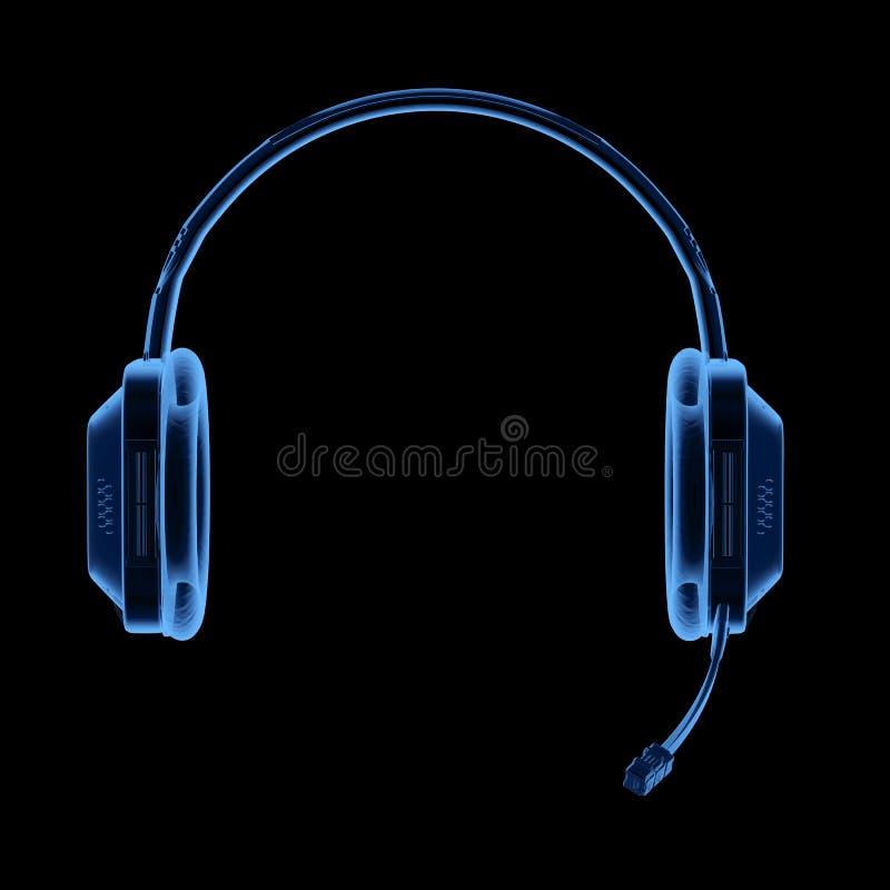 Raio X dos auriculares ou dos fones de ouvido ilustração do vetor