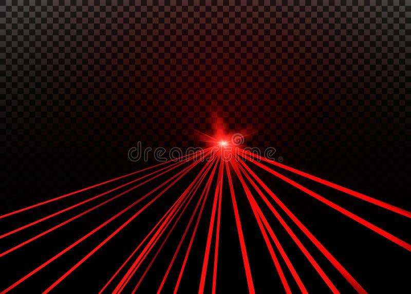 Raio laser vermelho abstrato Transparente isolado no fundo preto ilustração do vetor