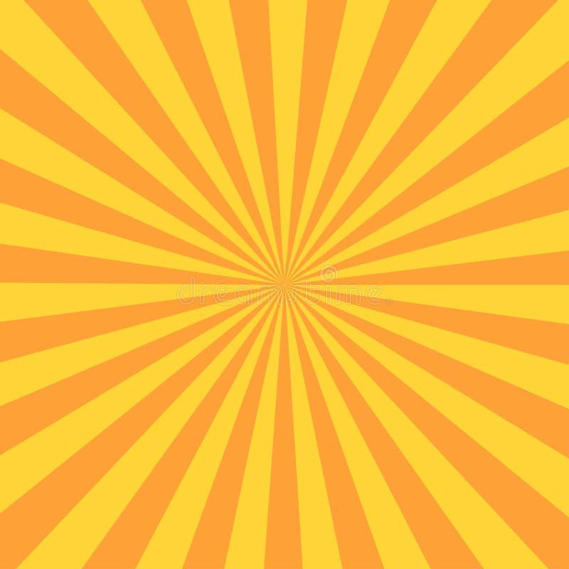 Raio retro do sunburst no estilo do vintage Fundo abstrato da banda desenhada ilustração do vetor