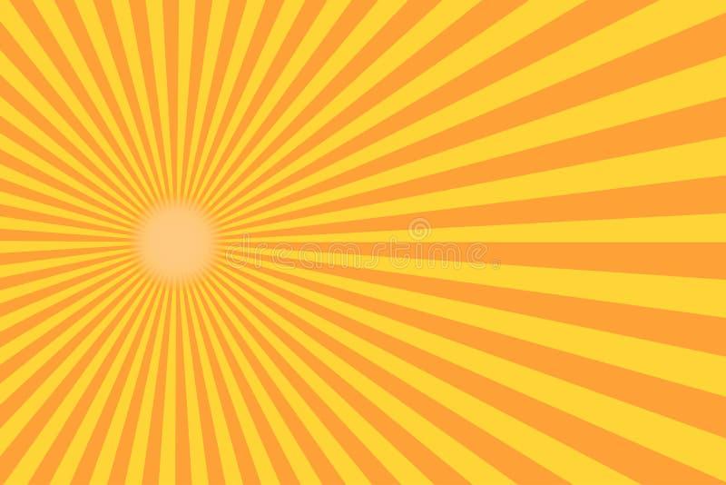 Raio retro do sunburst no estilo do vintage Fundo abstrato da banda desenhada ilustração royalty free