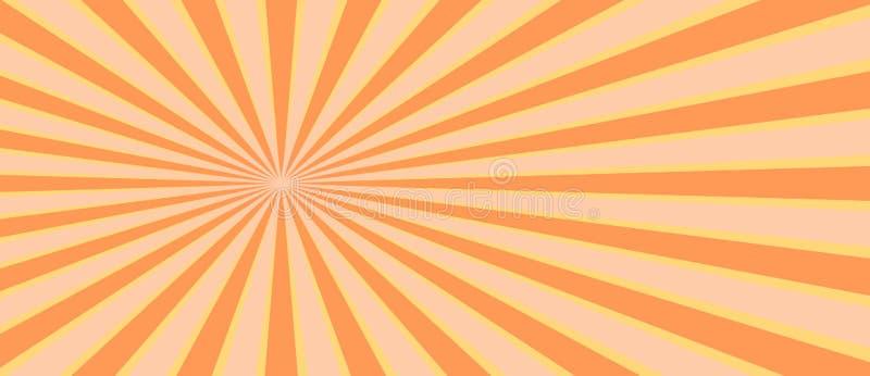 Raio retro do sunburst no estilo do vintage Fundo abstrato da banda desenhada ilustração stock