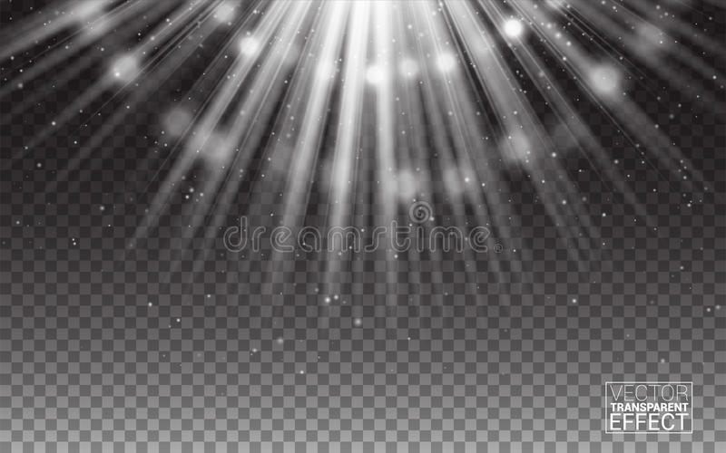Raios brancos do vetor da ilustração do sumário do alargamento da luz Elementos realísticos do projeto Efeito no fundo transparen ilustração do vetor