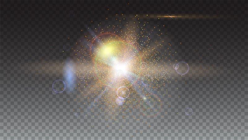 Raios claros e bokeh efervescentes abstratos do alargamento da iluminação Efeito da luz do fulgor Explosão da estrela com Sparkle ilustração do vetor