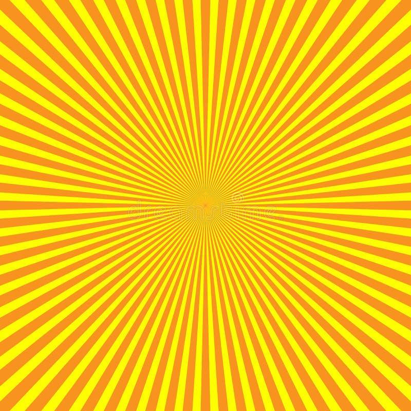 raios de luz Amarelo-alaranjados no arranjo radial A luz do sol irradia o tema Teste padrão abstrato do fundo Vetor ilustração royalty free
