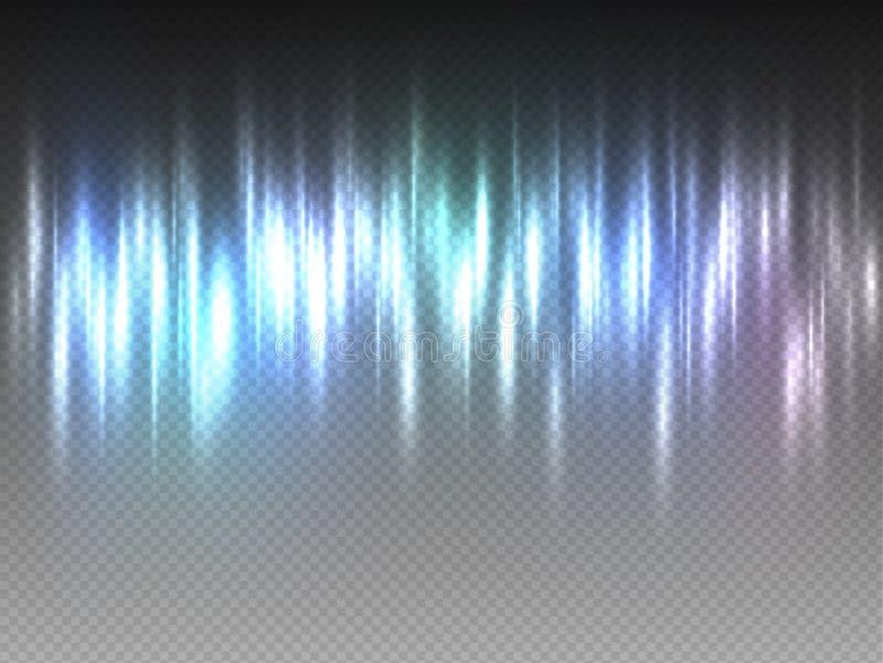 Raios de pulsação do fulgor colorido vertical do esplendor do arco-íris no fundo transparente Ilustração abstrata do vetor de Aur ilustração royalty free