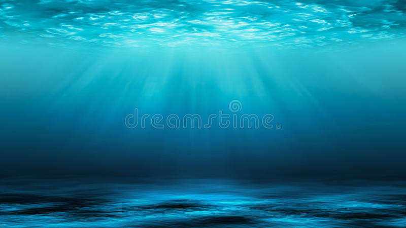 Raios de sol e mar profundamente ou oceano subaquático como um fundo imagens de stock