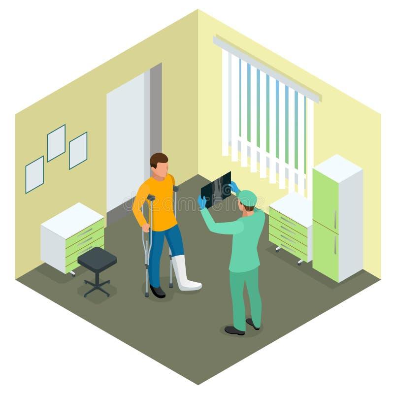 Raios X do conceito dos pacientes da fratura do pé O médico está falando ao paciente com pé quebrado e está mostrando-lhe o raio  ilustração do vetor