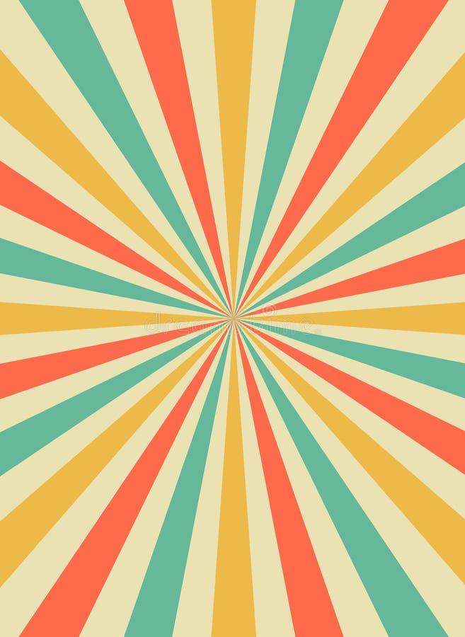 Raios do sol do nascer do sol no estilo retro do starburst Molde do fundo para cartazes do circo Vetor liso ilustração stock