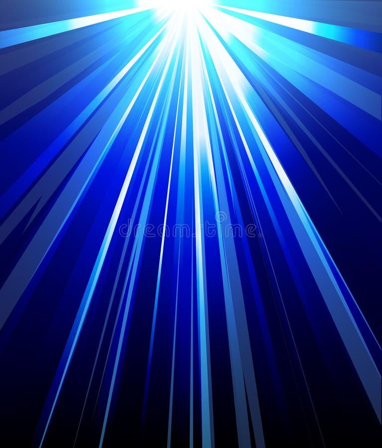 Raios do sumário do fundo de luz azuis ilustração do vetor