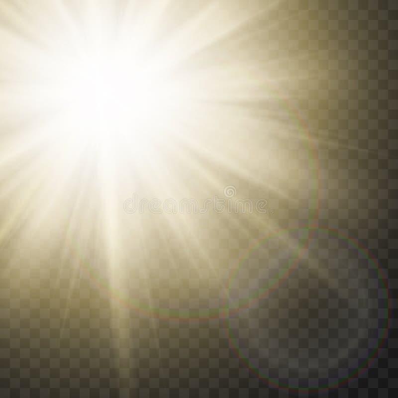 Raios efervescentes de Sun com efeito do alargamento no fundo transparente Vetor ilustração do vetor