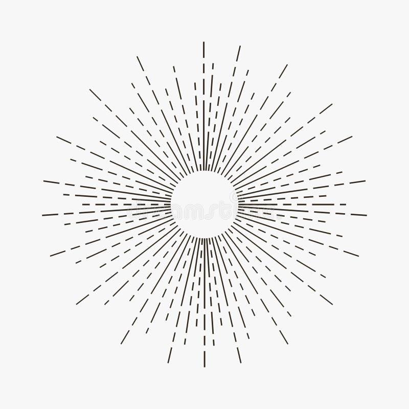 Raios lineares do sol do sunburst do vintage Elemento retro do starburst do moderno Vetor ilustração stock