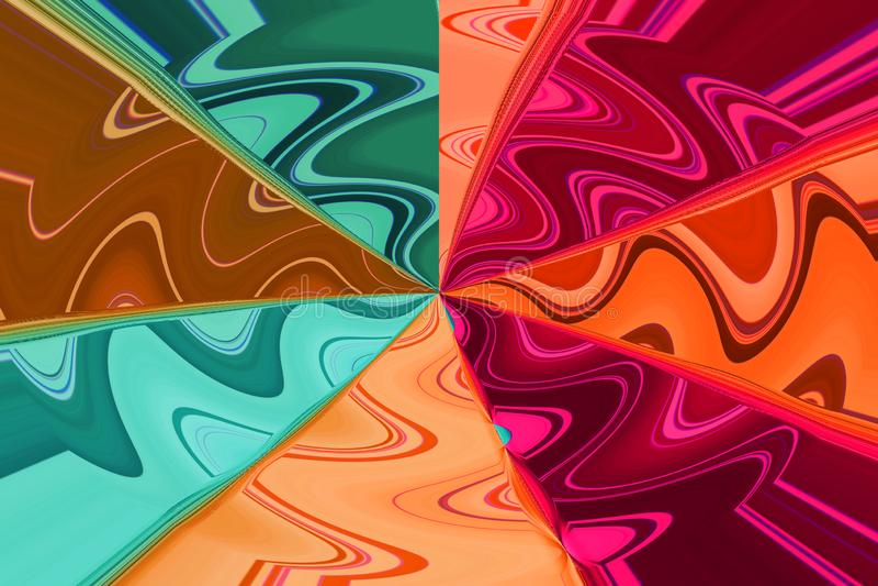 Raios pasteis coloridos com ondas diferentes, papel de parede abstrato ilustração royalty free