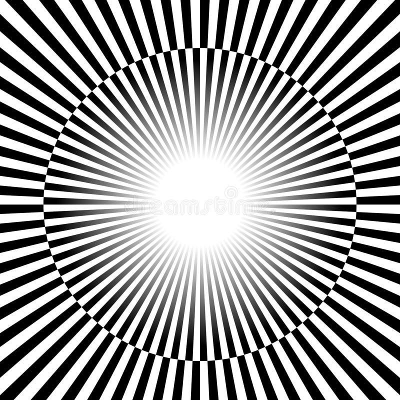 Raios preto e branco, fundo do starburst com alternar, che ilustração royalty free