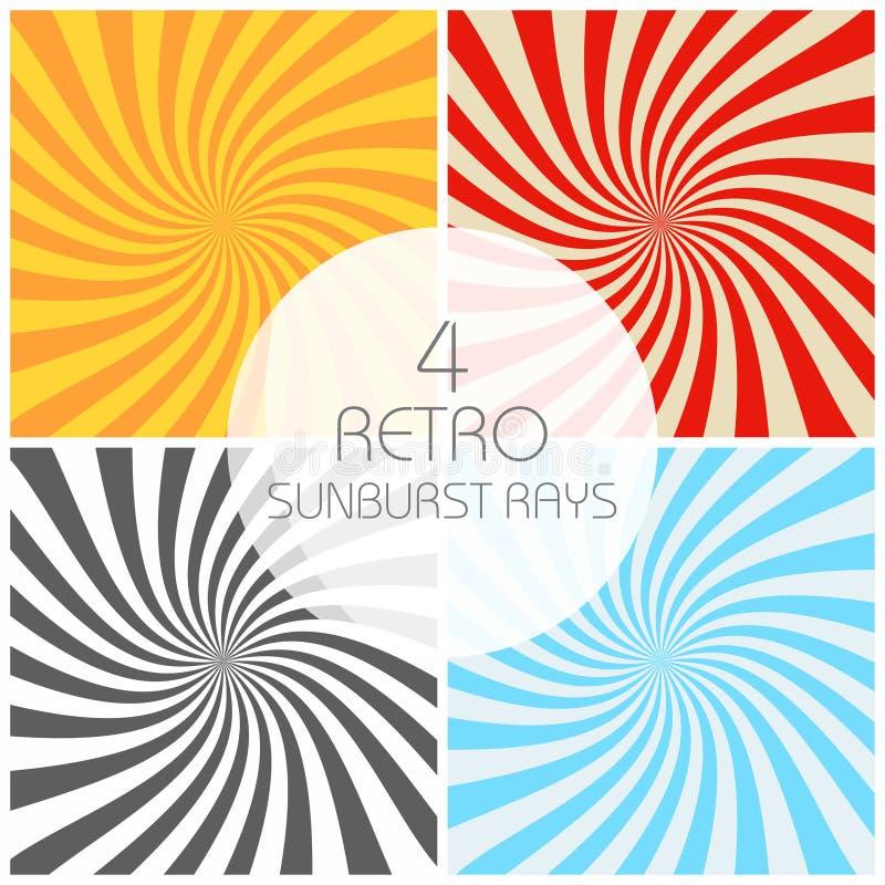 Raios retros do sunburst ajustados no estilo do vintage Efeito espiral Fundo abstrato da banda desenhada ilustração royalty free