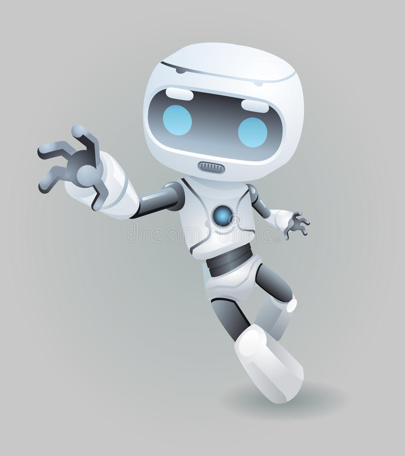 Raise drag grab hand mascot robot innovation technology science fiction future cute little 3d Icon artificial vector illustration
