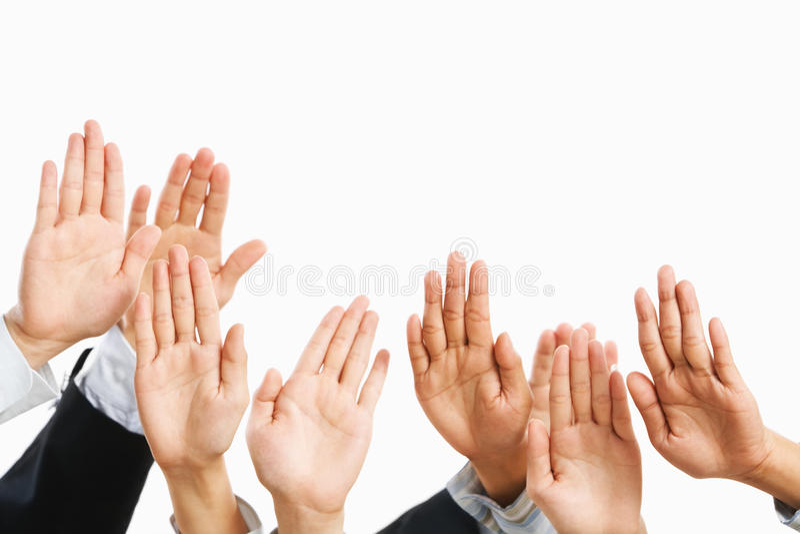 Raise hand stock image
