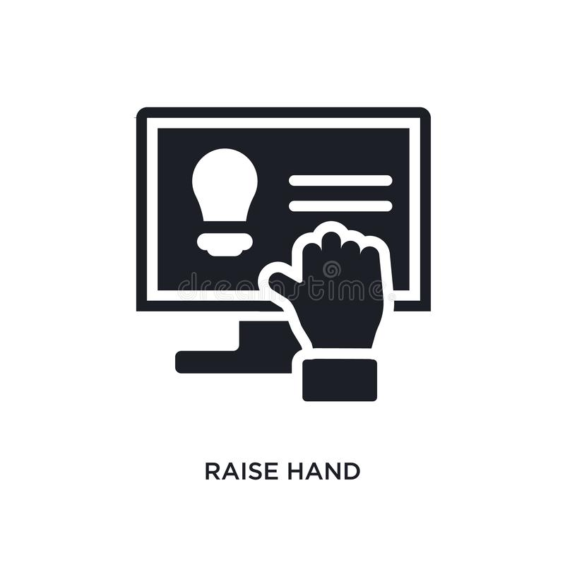 raise hand isolated icon. simple element illustration from e-learning and education concept icons. raise hand editable logo sign royalty free illustration